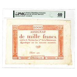Republique Francais, Assignat, ND (1795) 1000 Francs Issue Banknote.