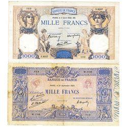 Banque de France. 1923-1940. Quartet of Issued Banknotes.