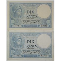 Banque de France. 1930-1932. Lot of 2 Issued Notes.