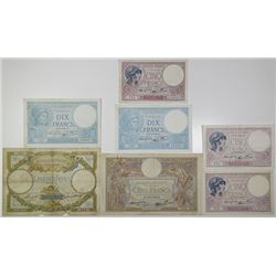 Banque de France. 1933-1940. Lot of 7 Issued Notes.