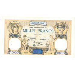 Banque de France. 1938. Issued Note.