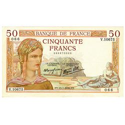 Banque de France. 13-7-1939. Issued Note.