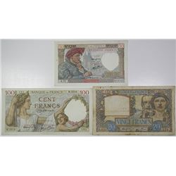 Banque de France. 1939-1941. Lot of 3 Issued Notes.