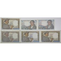 Banque de France. 1942-1945. Lot of 6 Issued Notes.