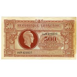 Republique Francaise - Tresor Central Government Notes. ND (1944). Issued Note.