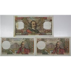 Banque de France. 1965-1967. Lot of 3 Issued Notes.