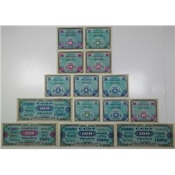 Allied Military Currency. 1944. Lot of 14 Issued Notes.