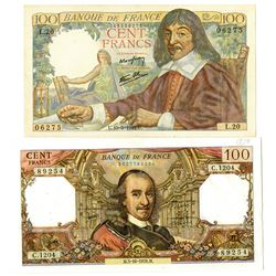 Banque De France, 1942 & 1978 Issue Banknote Pair.
