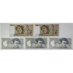 Banque de France. 1980-1988. Lot of 5 Issued Notes.