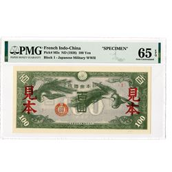 Japanese Occupation, WW II, Japanese Imperial Government, French Indo China. ND (1938) Specimen Bank