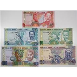 Central Bank of the Gambia. 2006. Lot of 5 Issued Notes.