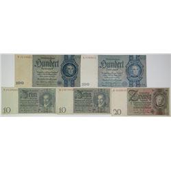 Reichsbankdirectorium. 1929-1935. Lot of 5 Issued Notes.