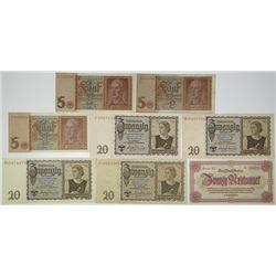 Deutsche Reichsbank. 1939-1945. Lot of 8 Issued Notes.