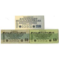 Reichsbanknote - Republic Treasury Notes, 1923 Ninth Issue Banknote Trio.