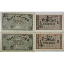 Reichskreditkassen. (1940-1945). Lot of 4 Issued Notes.