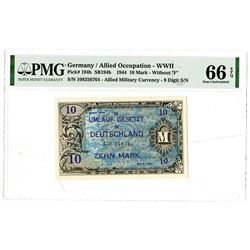 """Germany / Allied Military Currency - WWII, 1944 10 Mark, W/Out """"F""""."""