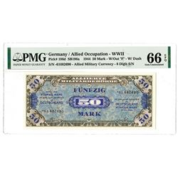 """Germany / Allied Military Currency - WWII, 1944 50 Mark, W/Out """"F"""" - W/Dash."""