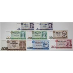 Staatsbank der DDR. 1971-1985. Lot of 8 Issued Notes.