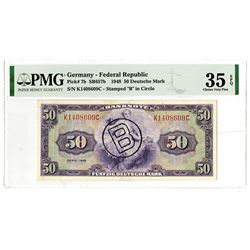 """Germany - Federal Republic, Allied Occupation - Post WWII, 1948 """"B"""" in Circle Issued Banknote."""