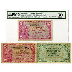 Germany - Federal Republic, Allied Occupation - Post WWII, 1948. Trio of Issued Notes.