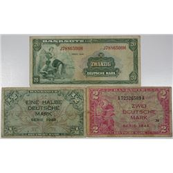 Germany - Federal Republic, Allied Occupation - Post WWII, 1948. Lot of 3 Issued Notes.