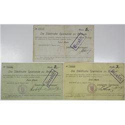 Die Stadtische Sparkasse zu Bochum. 1914. Lot of 3 Issued Notgeld.