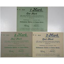 Schlesien Coal & Coke Works Co. 1914. Lot of 3 Issued Notgeld.