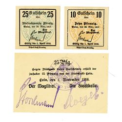 Exin Town Council. 1916-1917. Lot of 3 Issued Notes.