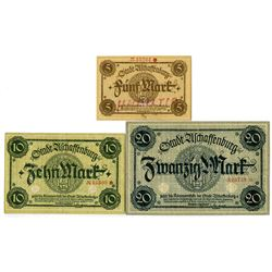 City of Aschaffenburg . ND (1918). Trio of Issued Notes.