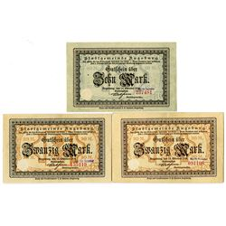 City of Augsburg. 1918. Trio of Issued Notes.