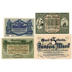 City of Chemnitz. 1918-1919. Lot of 4 Issued Notes.