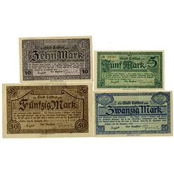 City of Cottbus. 1918. Lot of 4 Issued Notes.