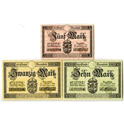 City of Darmstadt. 1918. Trio of Issued Notes.