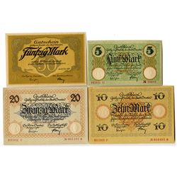 City of Dresden. 1918. Lot of 4 Issued Notes.