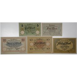 City of Dresden. 1918. Lot of 5 Issued Notgeld.