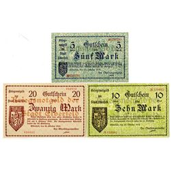 City of Elberfeld. 1918. Trio of Issued Notes.