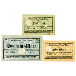 City of Mainz. 1918. Trio of Issued Notes.