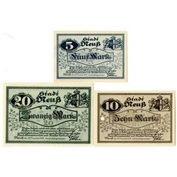 City of Neuss. 1918. Trio of Issued Notes.