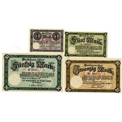 Germany, Cochem District. 1918. Lot of 4 Issued Notgeld Note.