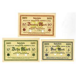 Kalle & Co  Aktiengesellschaft in Rhein. 1918. Lot of 3 Issued Notes.