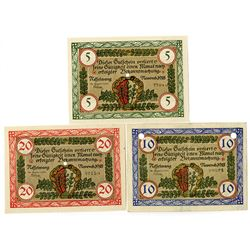 Nesselwang Municipality. 1918. Trio of Issued Notes.