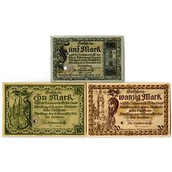 Town of Altenberg. 1918. Trio of Issued Notes.