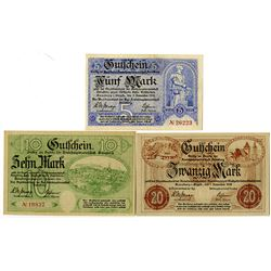 Town of Annaberg im Erzgebirge. 1918. Trio of Issued Notes.