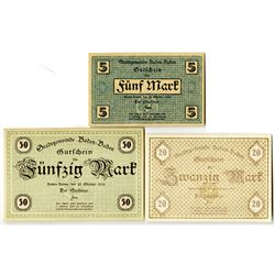 Town of Baden-Baden. 1918. Trio of Issued Notes.