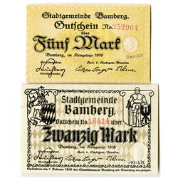 Town of Bamberg. 1918. Pair of Issued Notes.
