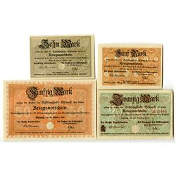 Town of Eisenach. 1918. Lot of 4 Issued Notes.