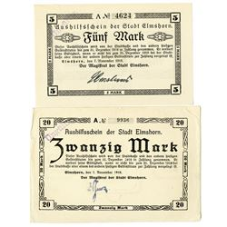 Town of Elmshorn. 1918. Pair of Issued Notes.