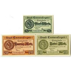 Town of Emmendingen. 1918. Trio of Issued Notes.