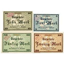 Town of Rudolstadt. 1918. Lot of 4 Issued Notes.