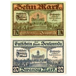 Town of Zeulenroda. 1918. Pair of Issued Notes.